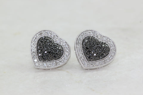 BLACK AND WHITE DIAMONDS HEARTS EARRINGS LADIES 14k WHITE GOLD