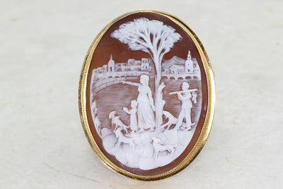 ANTIQUE CAMEO PIN BROOCH PENDANT LADIES 14k YELLOW GOLD ART NOUVEAU