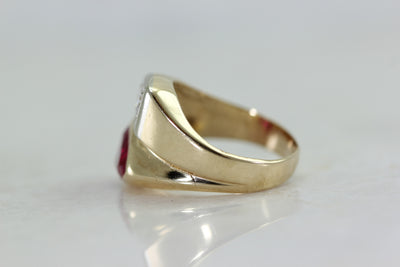 ANTIQUE DIAMOND & RUBY MENS RING 14k YELLOW GOLD