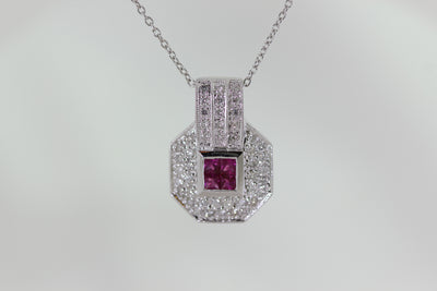 DIAMONDS & RUBY LADIES PENDANT AND CHAIN 14k WHITE GOLD