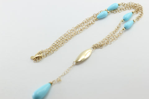 TURQUOISE LADIES LARIAT Y NECKLACE 14K YELLOW GOLD