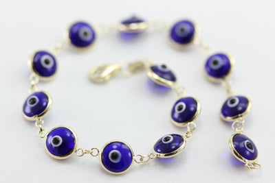 ROUND DROPS VENETIAN GLASS 14K YELLOW GOLD EVIL EYE NAVY