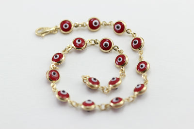 ROUND DROPS VENETIAN GLASS 14K YELLOW GOLD EVIL EYE RED