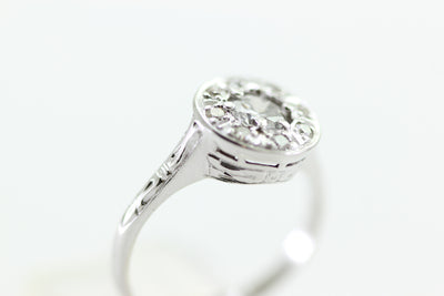 ANTIQUE ILLUSION DIAMOND RING 14k WHITE GOLD ROUND CUT