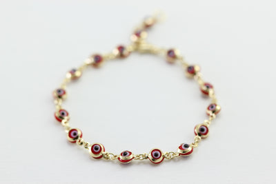 KIDS ROUND DROPS VENETIAN GLASS 14K YELLOW GOLD EVIL EYE RED