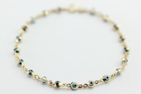 ROUND DROPS VENETIAN GLASS 14K YELLOW GOLD EVIL EYE BLUE