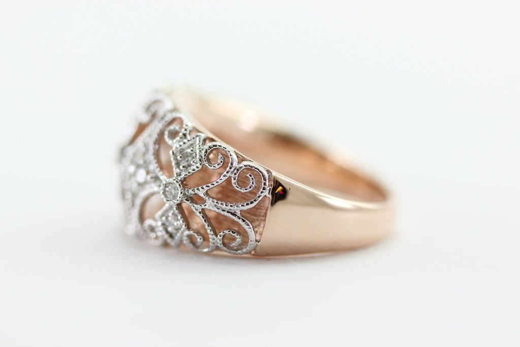 ANTIQUE DESIGN DIAMOND WHITE AND ROSE PINK GOLD RING 14k BAND