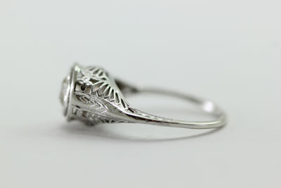ANTIQUE 14k WHITE GOLD ART DECO FILIGREE ENGAGEMENT RING EUROPEAN CUT DIAMOND