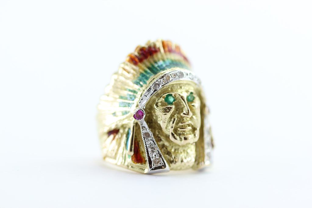NATIVE AMERICAN INDIAN HEAD MENS RING THE CHIEF 18K GOLD ENAMEL AND DIAMONDS