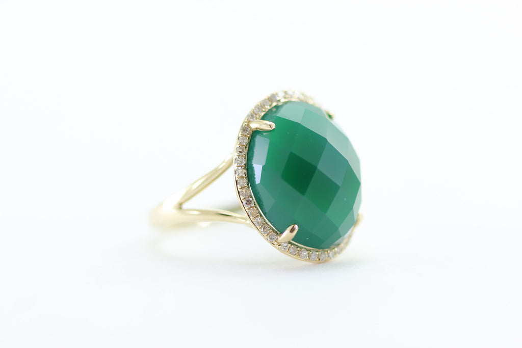 GREEN AGATE CHECKERBOARD 14K YELLOW GOLD DIAMOND HALO RING