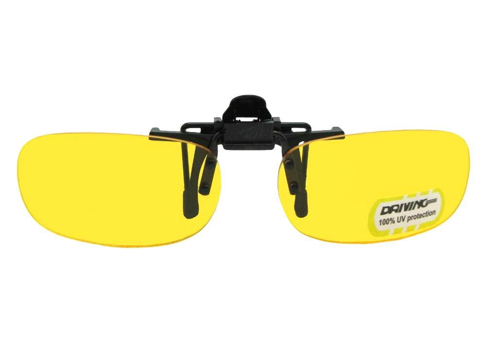 Skinny Curved Rectangle Yellow Non Polarized Flip Up Black Flip Non Pol Yellow Lens