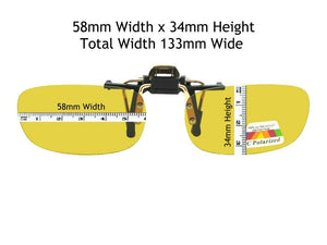 Rectangle Polarized Yellow Lens Flip Up Gold Frame