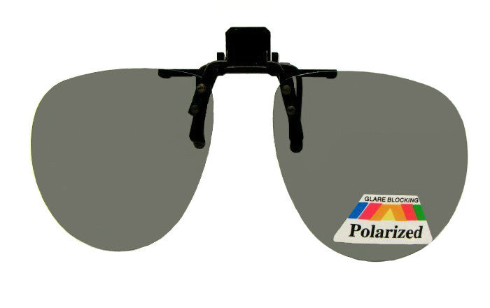 Aviator Flip Up Clip On Sunglasses Polarized Gray Lenses
