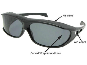 Style F6 Wrap Around Curved Lens Polarized Sunglasses Over Glasses Black Frame Polarized Gray Lenses