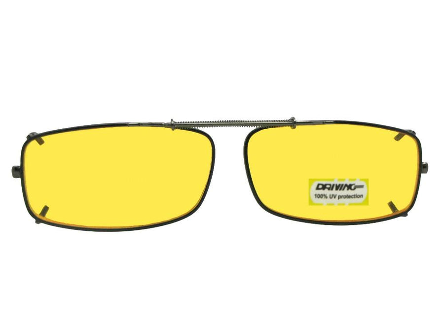 Extra Skinny Rectangle Yellow Lens Clip-on Pewter Frame Yellow Lenses