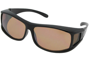 Style F11 Non Polarized Wrap Around Fit Over Sunglasses Black Frame Non Polarized Amber Lenses