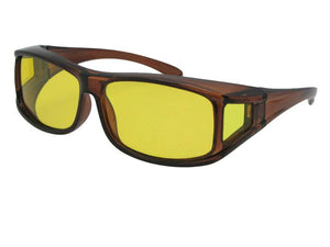 Style F11 Wrap Around Polarized Sunglasses Over Glasses Brown Frame Light Yellow Polarized Lenses