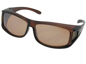 Style F11 Non Polarized Wrap Around Fit Over Sunglasses Brown Frame Non Polarized Amber Lenses
