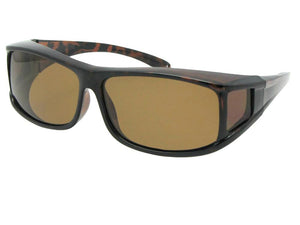 Style F11 Wrap Around Polarized Sunglasses Over Glasses Tortoise Polarized Brown Lens
