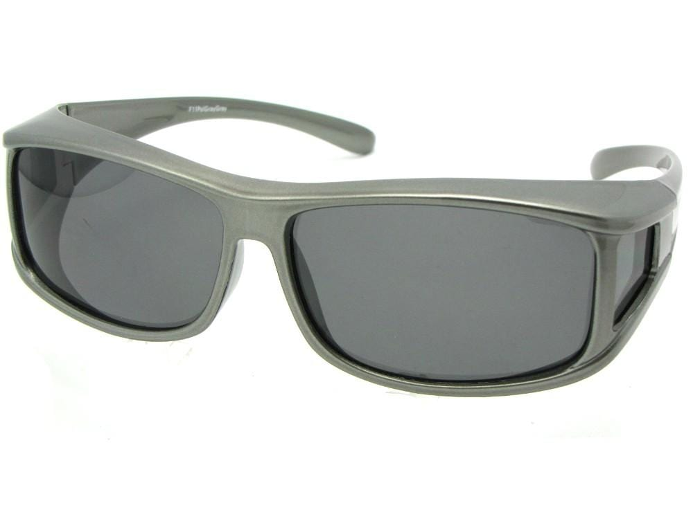 Style F11 fit over sunglasses black frame with medium dark gray lenses.
