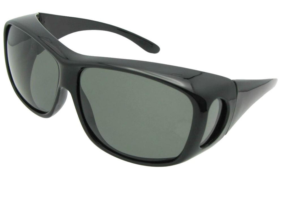 Style F15 Large Size Wrap Around Fit Over Sunglasses Black Frame Medium Dark Gray Lens