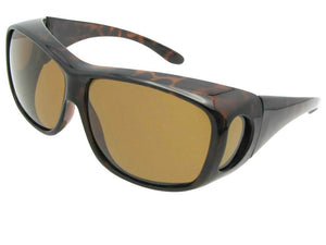 Style F15 Large Size Wrap Around Fit Over Sunglasses Tortoise Frame Brown Lenses