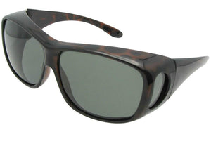 Style F15 Large Size Wrap Around Fit Over Sunglasses Tortoise Frame Gray Lenses