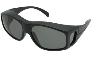 Style F18 Polarized Large Size Fit Over Sunglasses Flat Black Polarized Med Dark Gray Lenses