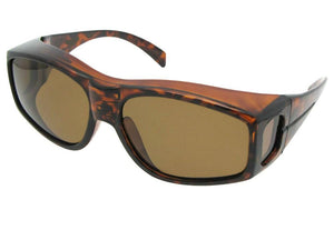 Style F18 Polarized Large Size Fit Over Sunglasses Tortoise Frame Polarized Brown Lens