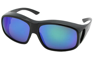 Style F19 Color Mirror Largest Wrap Around Fit Over Sunglasses Black Frame Blue Green Mirror Gray Lens