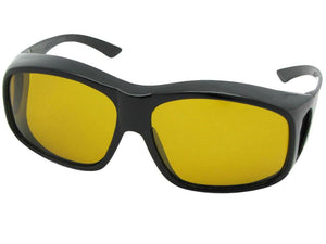 Style F19 Largest Polarized Fit Over Sunglasses Black Polarized Dark Yellow Lenses