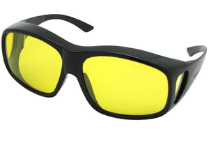 Style F19 Largest Polarized Fit Over Sunglasses Black Polarized Light Yellow Lenses
