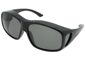 Style F19 Largest Polarized Fit Over Sunglasses Shiny Black Polarized Med Dark Gray Lens