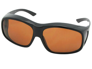 Style F19 Largest Non Polarized Fit Over Sunglasses Black Frame Non Polarized Amber Lenses