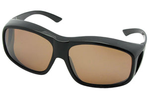 Style F19 Largest Polarized Fit Over Sunglasses Black Polarized Amber Lenses