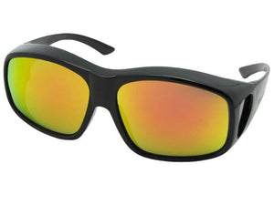 Style F19 Color Mirror Largest Wrap Around Fit Over Sunglasses Black Frame Gold Mirror Gray Lens