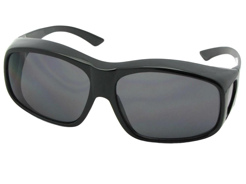 Style F19 Largest Non Polarized Fit Over Sunglasses Black Frame Non Polarized Gray Lenses