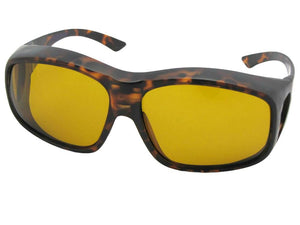 Style F19 Largest Polarized Fit Over Sunglasses Flat Tortoise Polarized Dark Yellow Lenses