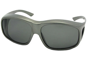 Style F19 Largest Polarized Fit Over Sunglasses Gray Frame Med Dark Gray Lenses