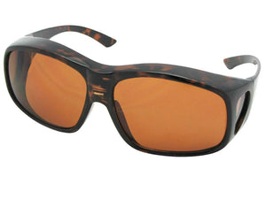 Style F19 Largest Non Polarized Fit Over Sunglasses Tortoise Frame Non Polarized Amber Lenses