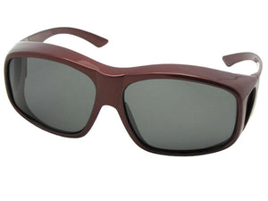 Style F19 Largest Polarized Fit Over Sunglasses Wine Red Frame Med Dark Gray Lenses
