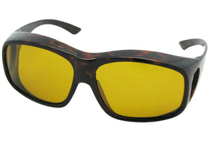 Style F19 Largest Polarized Fit Over Sunglasses Shiny Tortoise Polarized Dark Yellow Lenses