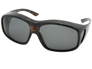 Style F19 Largest Polarized Fit Over Sunglasses Shiny Tortoise Polarized Med Dark Gray Lenses