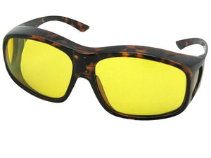 Style F19 Largest Polarized Fit Over Sunglasses Tortoise Polarized Light Yellow Lenses