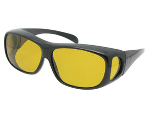 Style F1 Medium Polarized Fit Over Sunglasses Black Premium Dark Yellow