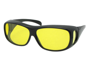 Style F1 Medium Polarized Fit Over Sunglasses Black Frame Light Yellow Lens