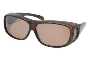 Style F1 Medium Polarized Fit Over Sunglasses Brown Frame Amber Lenses