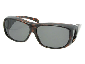 Style F1 Medium Polarized Fit Over Sunglasses Tortoise Frame Medium Dark Gray Lenses