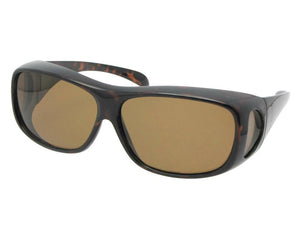 Style F1 Medium Polarized Fit Over Sunglasses Tortoise Frame Brown Lenses