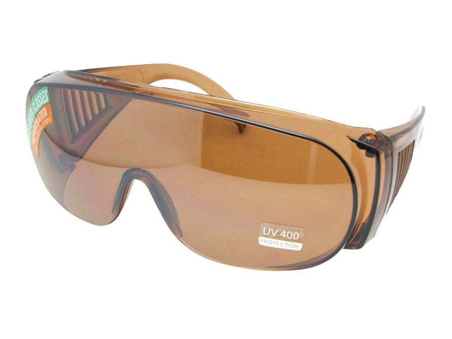 Style F22 Large Sun Shields Worn Over Glasses